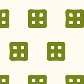 Waffle Windows - Green on Cream - Medium