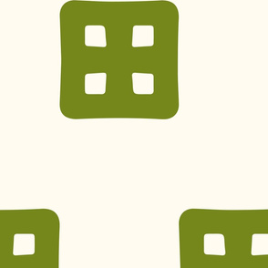 Waffle Windows - Green on Cream - Large