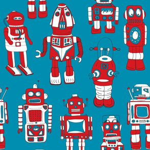 Hand Drawn Vintage Robots Red Blue - Medium Scale