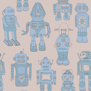 Hand drawn Vintage Robots Tan Blue - medium scale