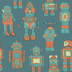Hand drawn Vintage Robots Teal Coral - medium scale