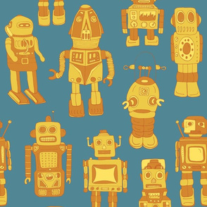 Hand Drawn Vintage Robots Retro Sunshine - medium scale