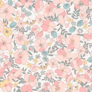 Floral Illustrated 70s Vintage-pink