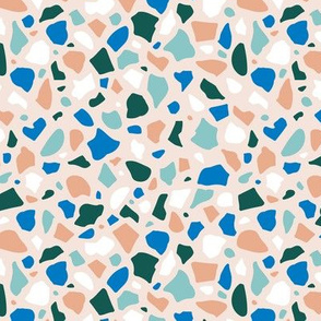 Minimal terrazzo texture abstract scandinavian trend classic basic spots design spring summer neutral blue green