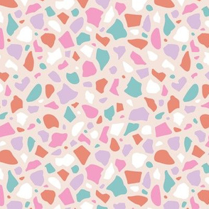 Minimal terrazzo texture abstract scandinavian trend classic basic spots design spring summer girls pink lilac blue
