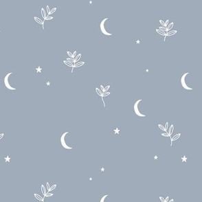 Little moon and stars jungle mystic boho garden moonlight dreams winter moody blue white