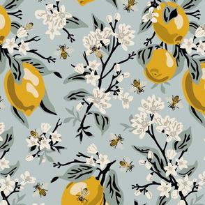 Bees & Lemons - Blue - Large - Version 4 - Black Stems