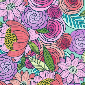 Spring Pop Floral - mint