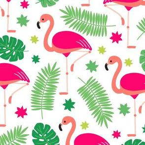 Tropical Pink Flamingo Green Leaves
