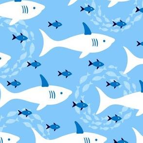 Great White Shark Blue Ocean Fish
