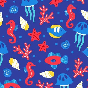 Under The Sea Marine Life Blue Red