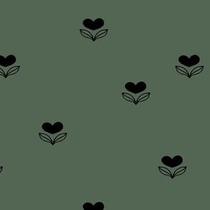 Cute little love flower winter blossom garden minimal nursery design moody green