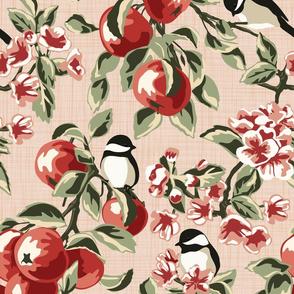 Chickadees & Apples - Blush - Large