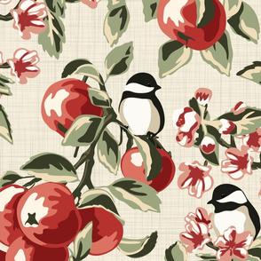 Chickadees & Apples - Ivory - Jumbo