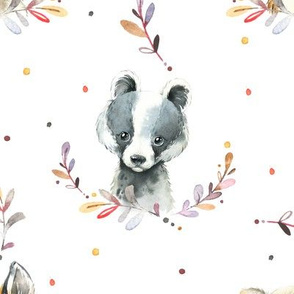 Woodland Animals – Baby Nursery Fabric- style B, LARGER scale
