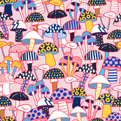Maximalist Mushrooms - Pink Large Scale