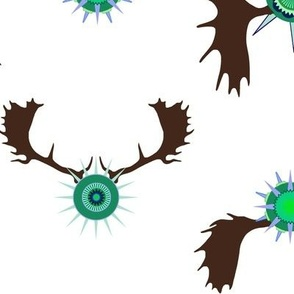 moose antlers bright blue green