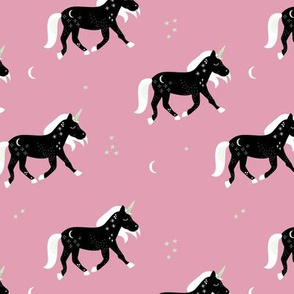 Little Sparkle Unicorn magic stars and moon universe horse design black pink mauve girls