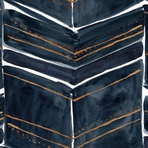 chevron fringe - indigo  + copper