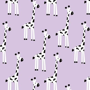 Adorable baby giraffe safari animals for kids winter lilac lavender girls