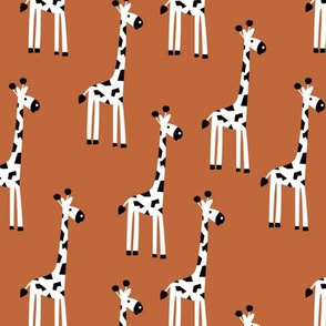 Adorable baby giraffe safari animals for kids winter rust copper neutral