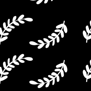 Black and White Modern Leaves