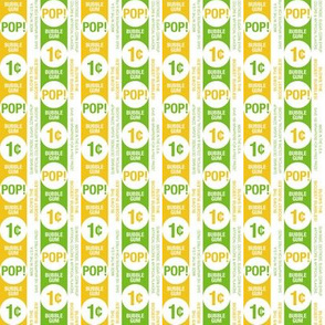 Bubblegum Pop!* (Velvet Banana & Grass) || gum wrapper stripes penny candy sweets typography graphic design geometric circles lime lemon citrus retro