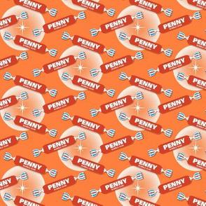 Pop Fly* (Tomato Soup on Valencia) || gum bubblegum retro stars halftone circles typography penny candy sweets orange