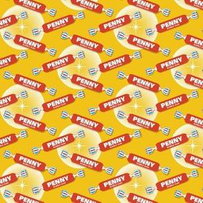 Pop Fly* (Tomato Soup on Velvet Banana) || gum bubblegum retro stars halftone circles typography penny candy sweets