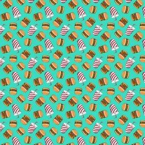 (micro scale) Hamburgers and Milkshakes - foodie - fast food - aqua -  C20BS