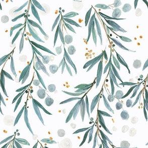 wispy leaves - blue green