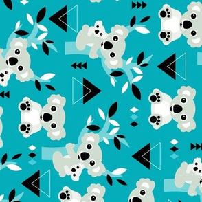 Koala winter blue geometric australian animal kids fabric rotated flipped