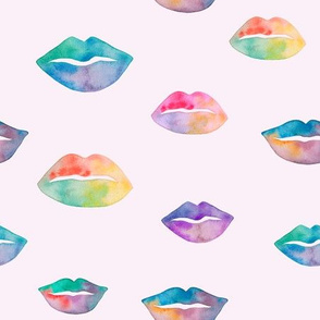 Watercolor lips pink background