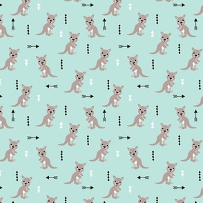 Hot pastel mint adorable geometric kangaroo illustration australia kids pattern design SMALL
