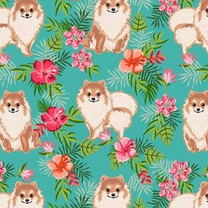 pomeranian hawaiian fabric - pom dog fabric, pom dog hawaiian shirt, tropical florals - turquoise