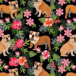 english bulldog hawaiian fabric - dog fabric, hawaiian fabric, tropical fabric, tropical florals, floral fabric - black