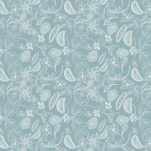 Farmhouse floral stripe - pale ocean
