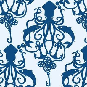 Squid Damask Classic Blue Light