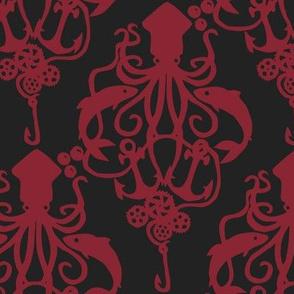 Squid Damask Ruby Dark