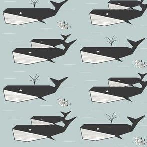 whales - geometric seafoam small scale