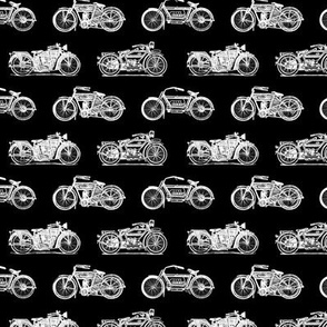 Antique Motorcycles on Black (Small Print Size)