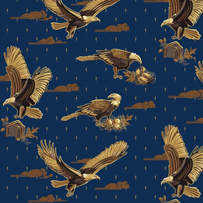 Small   Eagles Soaring Through Life   Midnight Blue