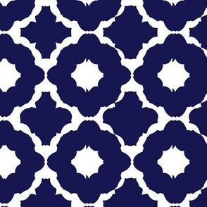 navy blue and white flower basic classic