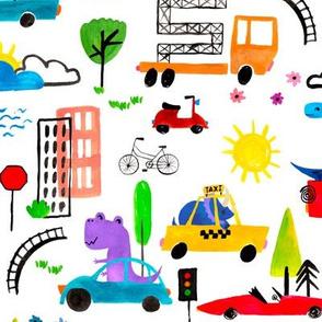 Medium - Dinosaur City Watercolor Transportation