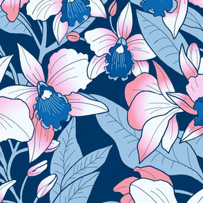 Tropical Orchid Blush-pink and blue