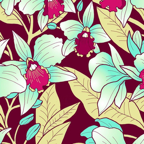 Tropical Orchid Blush-maroon gold