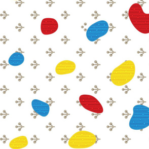 awesome red, grey , yellow, blue polka dot design