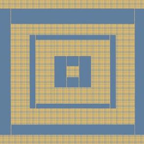 Quilt Block of Blue and Yellow Plaids