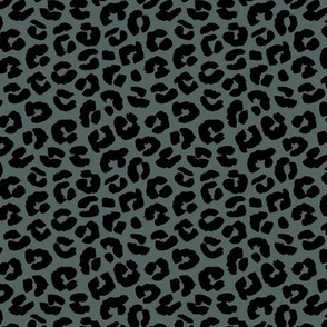 Chunky fat leopard print animals fur modern Scandinavian style raw brush  abstract trend eucalyptus green black