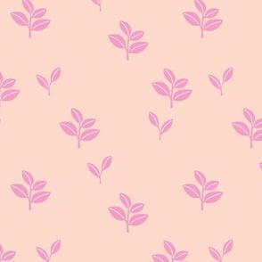 Sweet garden delicate leaves botanical Scandinavian style minimal trend design apricot pink
